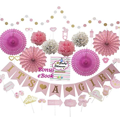 Baby Shower Decorations for Girl - Babyshower Party Games, Wall Boho Decoration, Its A Girl Banner, Nursery Room Decor Backdrop, Pink, Floral, Rose, Gold and Princess Colors]()
