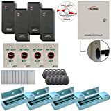 Visionis FPC-6207 Four Door Access Control TCP/IP RS-485 Wiegand for Outswing Door Electric 1200lbs MagLock Controller Box, Power Supply, Black Indoor/Outdoor Card Reader, Software 10,000 Users Kit