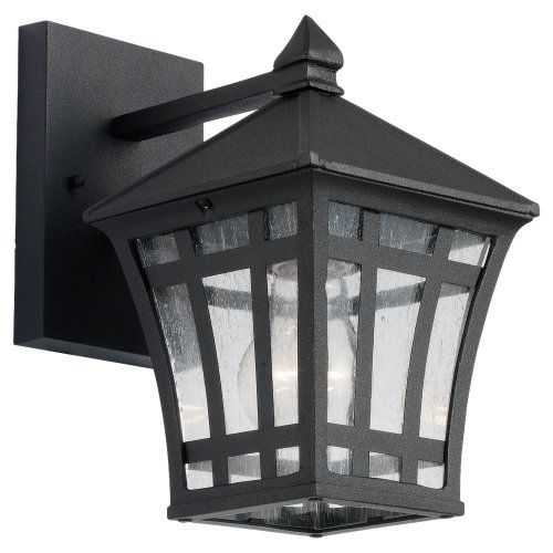 Sea Gull Lighting 88131-12 Herrington One-Light Outdoor Wall Lantern with Clear Seeded Glass Panels, Black Finish Review
