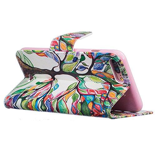 Voguecase® für Apple iPhone 7 Plus hülle,(Groß Bunte Baum) Kunstleder Tasche PU Schutzhülle Tasche Leder Brieftasche Hülle Case Cover + Gratis Universal Eingabestift