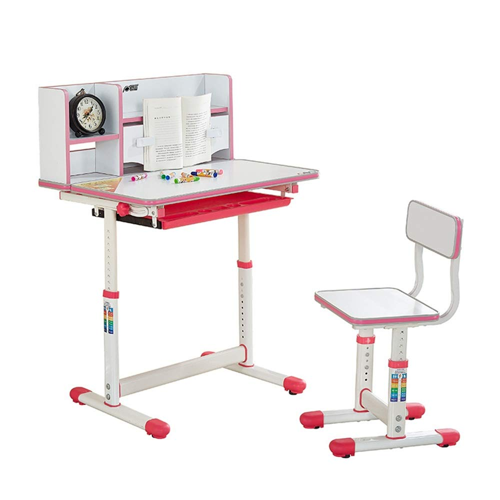 DERTHWER Kids' Desk & Chair Sets Kids Study Desk Chair Set Tiltable Table and Chair Work Station(Pink,Blue) Perfect for Kids' Rooms Or Study Areas (Color : Pink) by DERTHWER