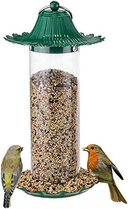FXQIN Comederos para pájaros Silvestres para Exteriores, Caja de alimentación de Aves con Tapa, diseño Colgante/Impermeable decoración de jardín en el Patio Trasero, Verde: Amazon.es: Productos para mascotas