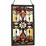 """River of Goods 26"""" Tiffany Style Stained Glass Amber Medallion Window Panel"""