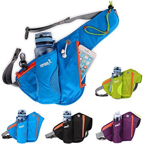 Aiyer Fanny Pack Running Belt with Water Bottle Pocket Water Resistant Waist Bag Phone Holder for Outdoor Sports Hiking Travel Men Women Runners Hip Bum Bag Black