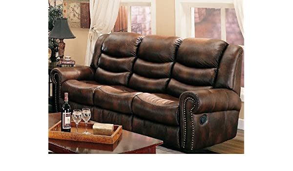 Amazon.com: Aiden Motion Sofa in Coffee Leather Like Fabric by ...
