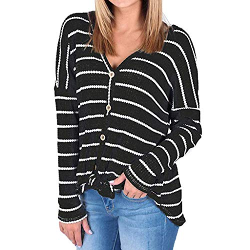 vermers Womens Blouse Womens Loose Knit Tunic Tie Knot Henley Tops Batwing Striped Shirts(XL, z-aBlack)