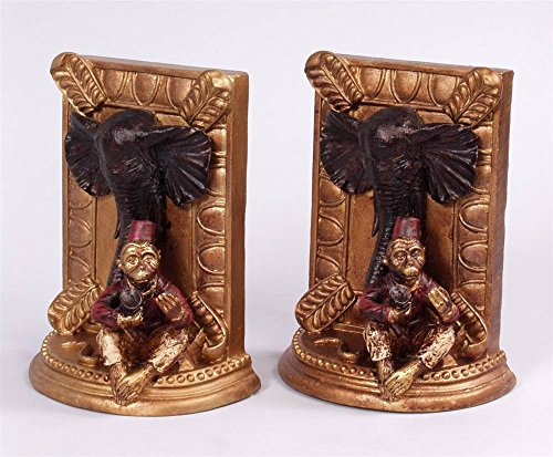 AA Importing Monkey & Elephant Bookends Pair in Antique Gold-Tone Finish