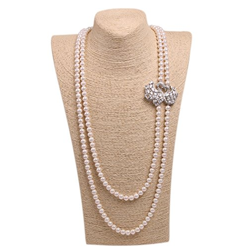 Wild Wind (TM) Valentine's Couple Diamond Swan Multi Pearl Strands Necklaces (Two Layers White Pearl)