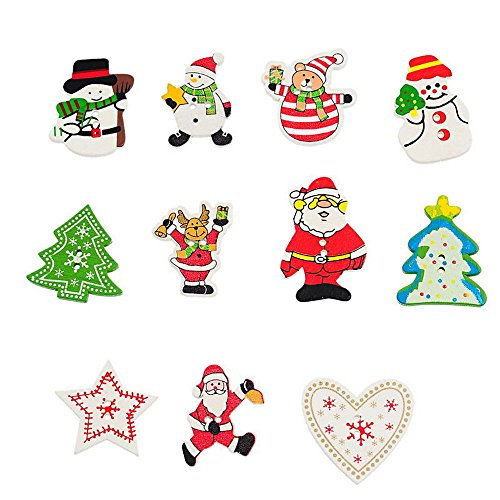 Scrapbooking Ornaments Christmas Pattern 3mm Wooden Sewing Buttons 55pcs, Mixed Colors