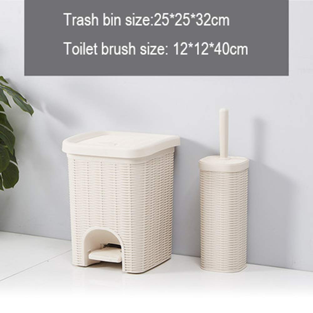 D Imitation Rattan Pedal Trash can, Home Living Room Small Paper Basket Bathroom Kitchen with Rectangular Trash Recycle bin,D