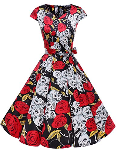 DRESSTELLS Retro 1950s Cocktail Dresses Vintage Swing Dress Cosplay Halloween Dress Black Skull XS