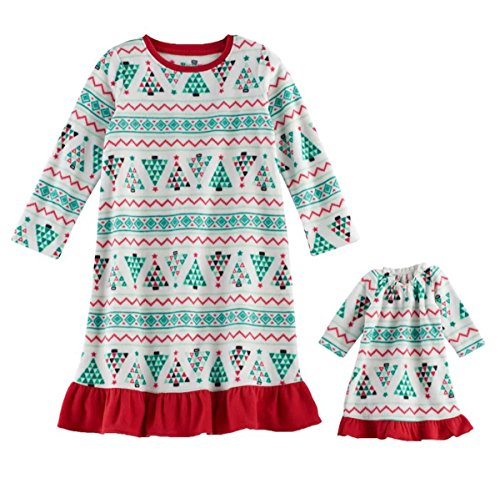 Little Girls' Holiday Fleece Nightgown With Matching