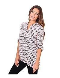 KRISP Womens Patterned Button Henley Roll Up Sleeve Top Blouse Shirt