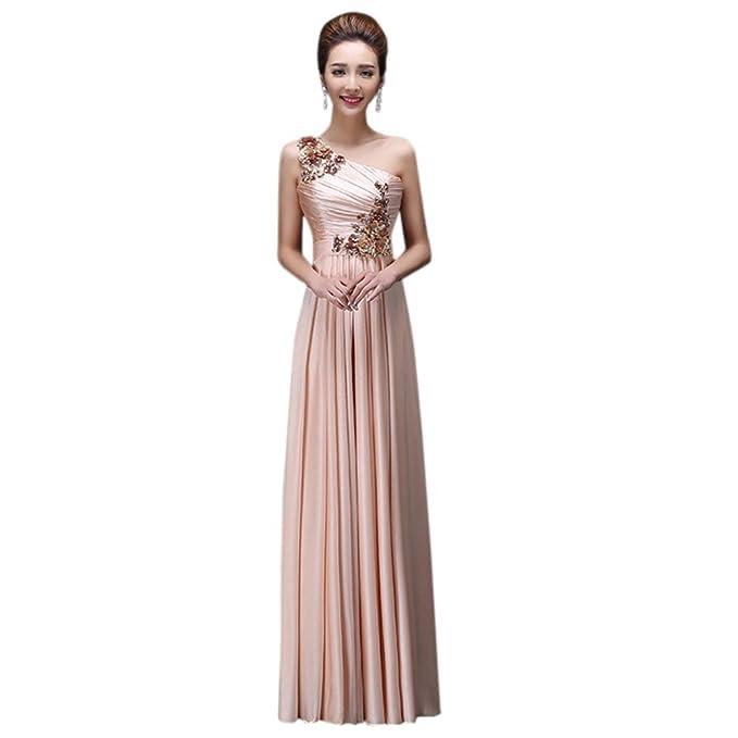 Las mujeres de un hombro bordado vestido de novia Empire Maxi vestido Formal - Beige -
