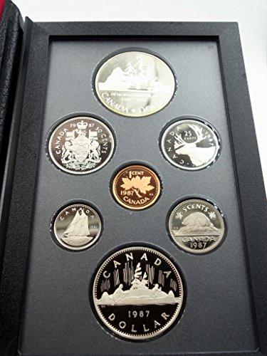 CA 1987 Royal Canadian Mint Proof Set Silver Dollar Nickel Dollar Proof Canadian Mint Coin Set