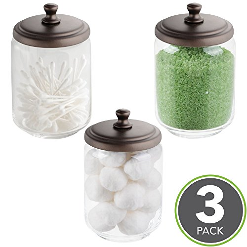mDesign Bathroom Vanity Storage Organizer Canister Jars for Q tips, Cotton Swabs, Rounds, Balls, Makeup Sponges, Bath Salts - Pack of 3, Clear/Bronze