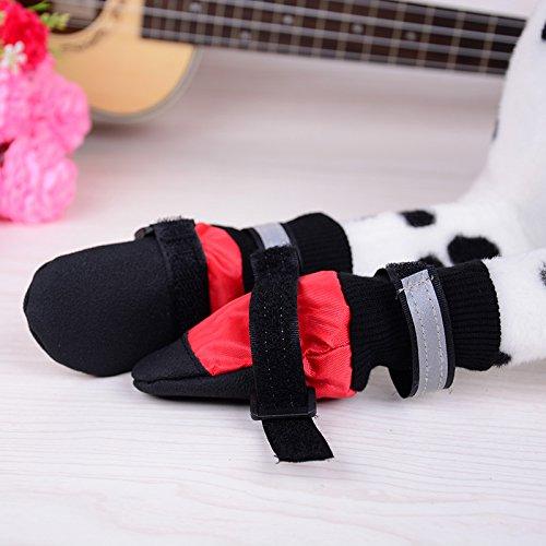 Ecloud Shop® cargadores del perro, perro zapatos con suela blanda contra el deslizamiento resistente al agua (rojo-XXL)