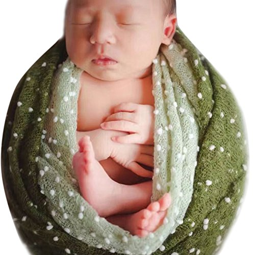 Price comparison product image CHICTRY Newborn Baby Boy Girl Photography Prop Backdrop Mohair Wrap Blanket With Flower Headdress Set Dark Green One Size