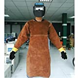 Cyana New XXL code Round neck, long-sleeved, chest protect & open back COWHIDE welding apron, welding clothes