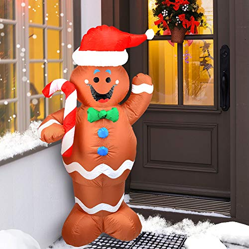 elecreate 5ft Christmas Blow Up Yard Inflatables Decorations Cute Lights Hanging Lawn Holiday Outdoor Gingerbread Christmas Decoration Airblown Life Size Animated Waving Men Gingerbread Man Décor