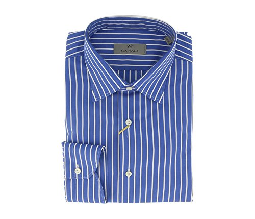 Canali Blue Stripe Formal Shirts for Mens