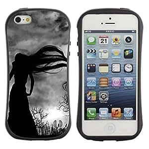 "Hypernova Slim Fit Dual Barniz Protector Caso Case Funda Para Apple iPhone SE / iPhone 5 / iPhone 5S [Largo Bruja Cabello Bare Trees Spooky""]"