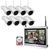 Luowice 8CH Wireless Audio Security Camera System with Built-in Monitor & Router All-in-One 960p 2 TB HDD Indoor/Outdoor HD Surveillance Cameras with Night Vision