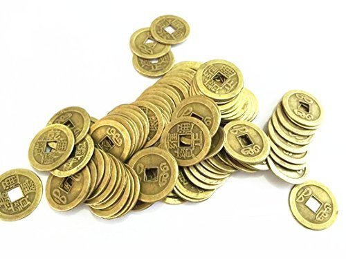 Shanghaimagicbox 100pcs/lot 24mm Chinese Feng Shui Lucky Ching/ancient Coins Set Educational Ten Emperors Antique Fortune Money