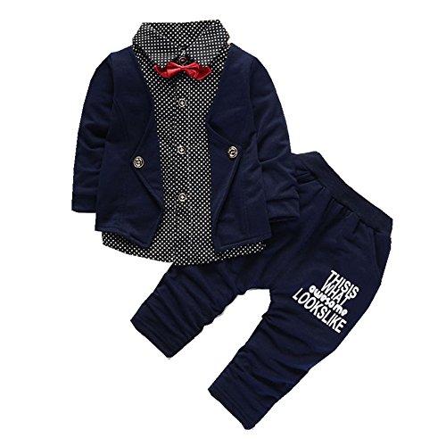 FTSUCQ Boys False Two Pieces Blouse Shirt Top + Pants,Blue 80