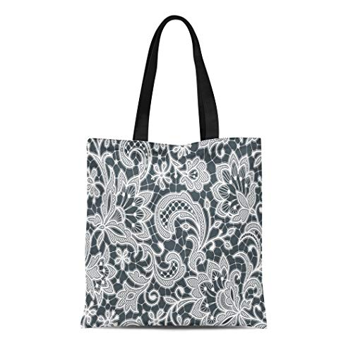 Semtomn Canvas Tote Bag Pink Flower White Lace Floral Pattern Black Wicker Effect Durable Reusable Shopping Shoulder Grocery Bag