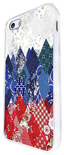 1048 - Cool Fun Cute Wallpaper Art Navy Red Collage Floral Design iphone SE - 2016 Coque Fashion Trend Case Coque Protection Cover plastique et métal - Blanc