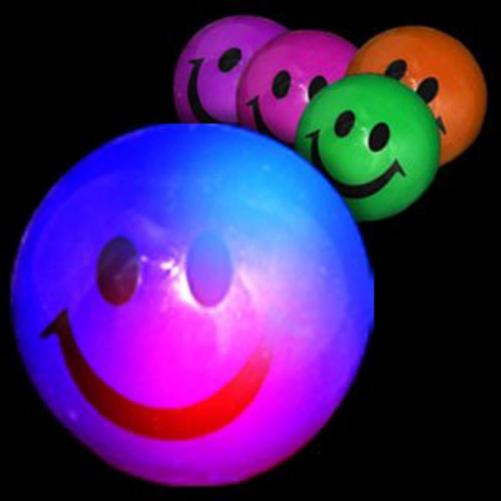 Fun Central R389, 12 Pcs 2 Inches Assorted LED Smiley Face Bouncing Balls, Light Up Bouncy Balls for Kids, Party Favor LED Balls, Bouncing Ball Kit, LED Balls for Party Favor, Stocking Stuffers