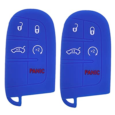 Henzxi 2Pcs Silicone Smart Key Fob Skin Cover Case Protector Keyless Jacket Remote Holder for Jeep Grand Cherokee Chrysler 300 Dodge Durango Charger Challenger Journey (Blue): Car Electronics