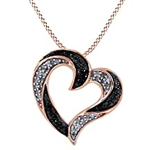 Black & White Natural Diamond Heart Shape Pendant Necklace in 14k Gold Over Sterling Silver (0.50 Cttw)