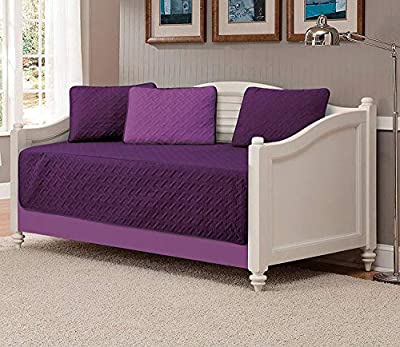 Fancy Collection 5pc DayBed Quilted Bedspread Coverlet Set Embossed Solid Dark Purple/Light Purple Reversible New