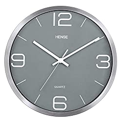 Hense 12 Inches Slient Wall Clocks Stylish Elegant Modern Non-ticking Metal Round Wall Clock Simple Creative Wall Clock For Home Living Room Bedroom Office Kitchen Decor Battery Operated HW56