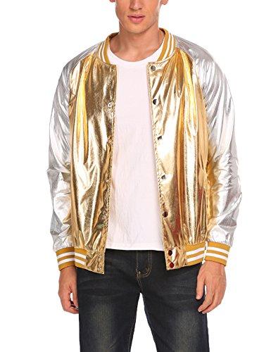 Coofandy Men's Metallic Nightclub Styles Zip Up Varsity Baseball Bomber Jacket (Small, Gold(Button type)) -