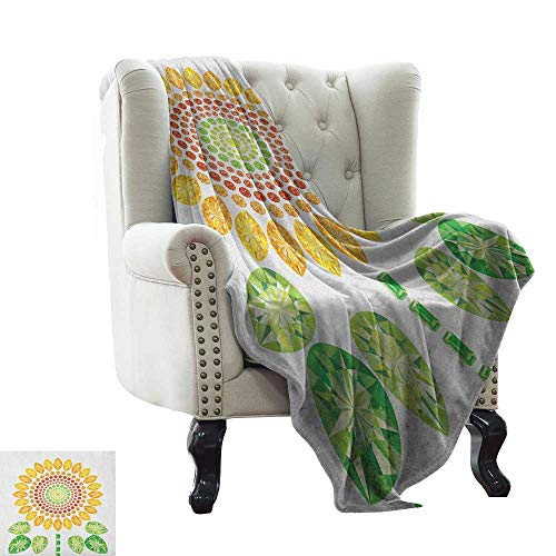 Anyangeight Sunflower, Throw Blanket, Round Sunflower Mandala Design with Diamond and Pearl Figures Print, Couch Bed Blankets Mini Size, (W60 x L62 Inch Yellow White and Green