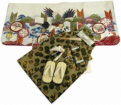【さらさ】 和がまま アンサンブル&袴 男の子用 金刺繍入り 祝着フルセット 三歳 男児着物 白鷹 3h-57