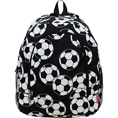 (Soccer Ball Print Canvas School Backpack)