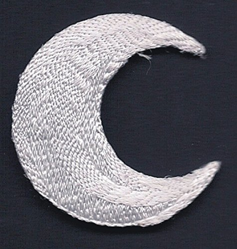 White Lunar Waning or Waxing Crescent Moon Embroidery Patch