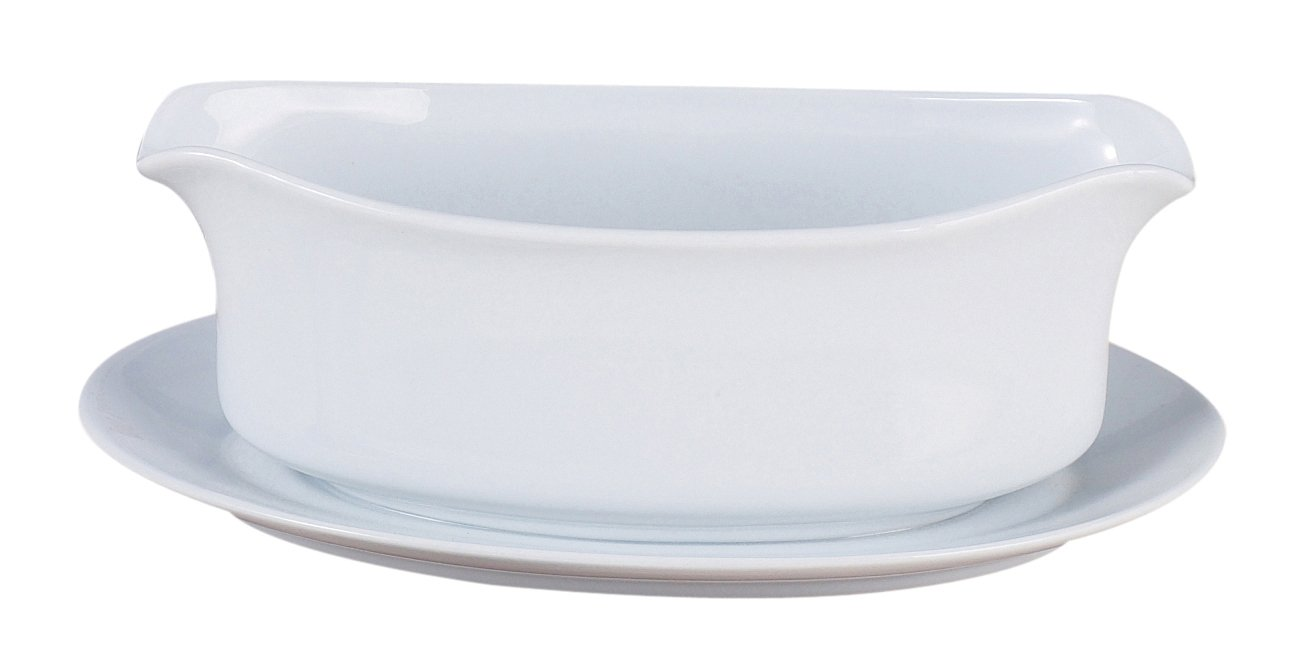 Harold Import Company HIC Gravy Boat with Attached Saucer, Fine Porcelain, 18 oz, White Harold Import Co. 722/103