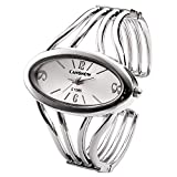 JSDDE Women Elegant Oval Silver Tone Bangle Cuff Bracelet Dress Watch 6''-Thanksgiving Christmas Gift