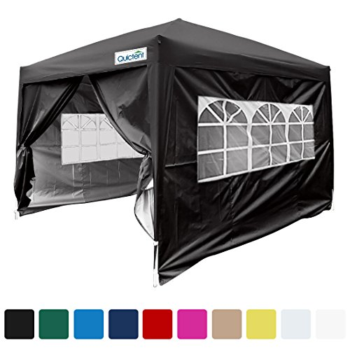 Quictent Silvox Waterproof 8x8' EZ Pop Up Canopy Gazebo Party Tent Black photo booth Portable Style