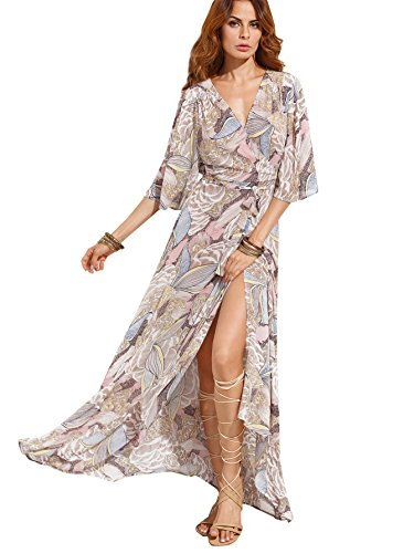 Milumia Women's Boho Deep V Neck Floral Chiffon Wrap Split Long Dress (Large, Grey_Pink) (Chiffon Floral Wrap)