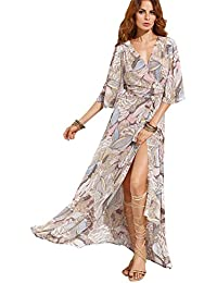 Womens Boho Deep V Neck Floral Chiffon Wrap Split Long Maxi Dress