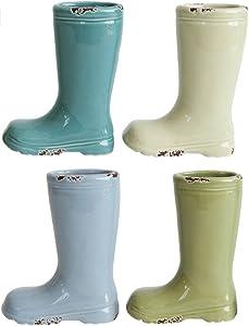 "Creative Co-op Set of 4 Pastel Colored Spring Ceramic Stoneware Mini Boot Vases, Multicolor, 4""H"