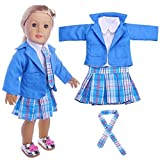 dolls accessory dolls clothes, 4pcs outfits Dolls Clothes christmas jumper Coat+White Shirt+Skirt+Tie for 18 inch our generation Fashion Dolls - Hirolan Dolls Outdoor Accessories (Blue)
