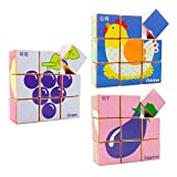 HM-TECH 3 Packs Wooden Cube Block Puzzle (6 in 1) Kids, Educational Jigsaw Puzzle Toddlers 3 Years Old & up Colorful Solid Wood Cube Pieces, Farm