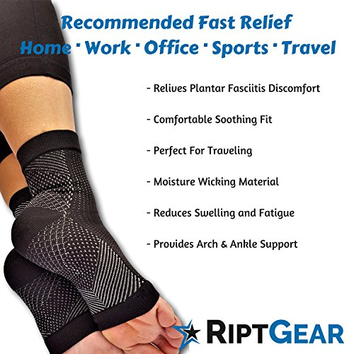 RiptGear Plantar Fasciitis Socks for Women and Men - 1 Pair Plantar Fasciitis Sleeves for Heel and Foot Pain with Ankle Compression - Small by RiptGear (Image #5)